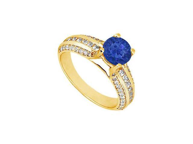 Sapphire and Diamond Engagement Ring  14K Yellow Gold - 1.25 CT TGW
