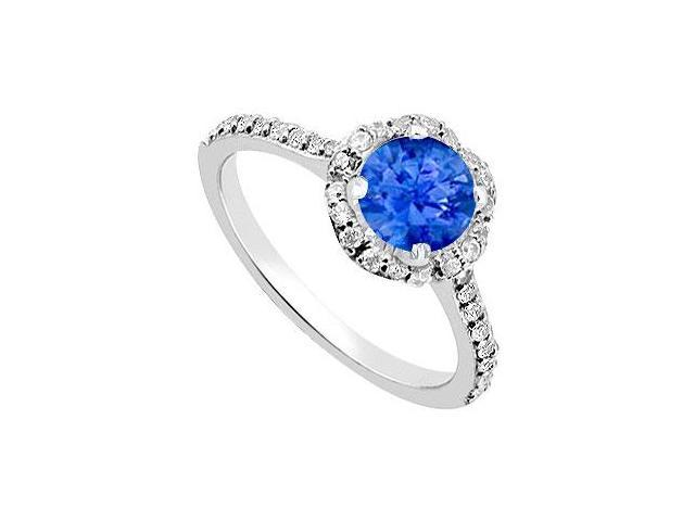 September Birthstone Created Sapphire  CZ Floral Engagement Ring in 14kt White Gold 1.35.ct.tgw