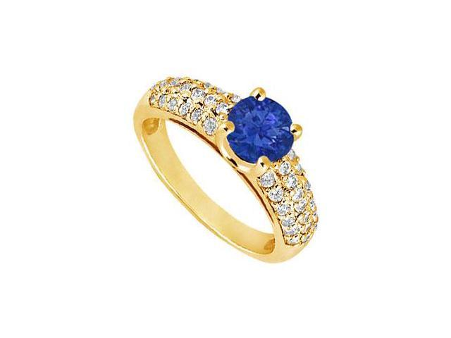 Sapphire and Diamond Engagement Ring  14K Yellow Gold - 1.50 TGW