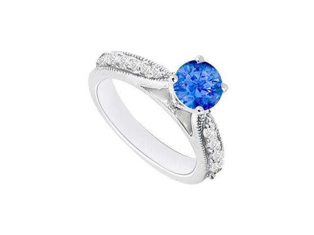 September Birthstone Created Sapphire  CZ Engagement Rings in 14kt White Gold 0.80.ct.tgw