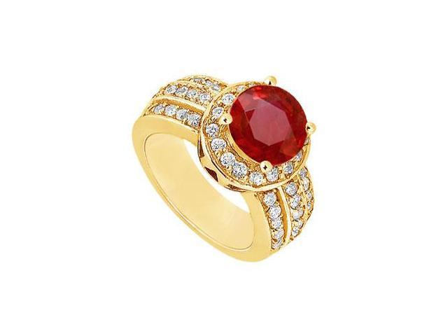 Ruby and Diamond Engagement Ring  14K Yellow Gold - 1.00 CT TGW