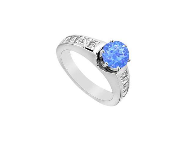 Diffuse Sapphire Engagement Ring with Princess Cut CZ 1.50 Carat TGW in 14K White Gold
