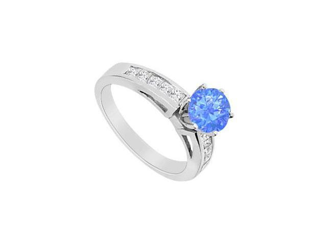 Diffuse Sapphire Half Carat with Channel Set CZ Engagement Ring in 14K White Gold 1.00 Carat TGW