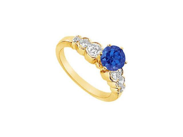 Sapphire and Diamond Engagement Ring  14K Yellow Golld - 1.75 CT TGW
