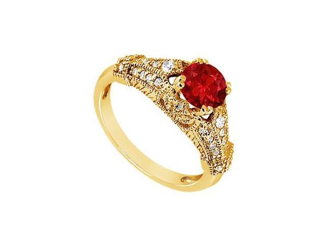 Ruby and Diamond Engagement Ring  14K Yellow Gold - 0.75 CT TGW