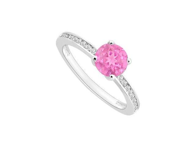 September Birthstone Created Pink Sapphire and CZ Engagement ring in 14K White Gold 0.50 ct TGW
