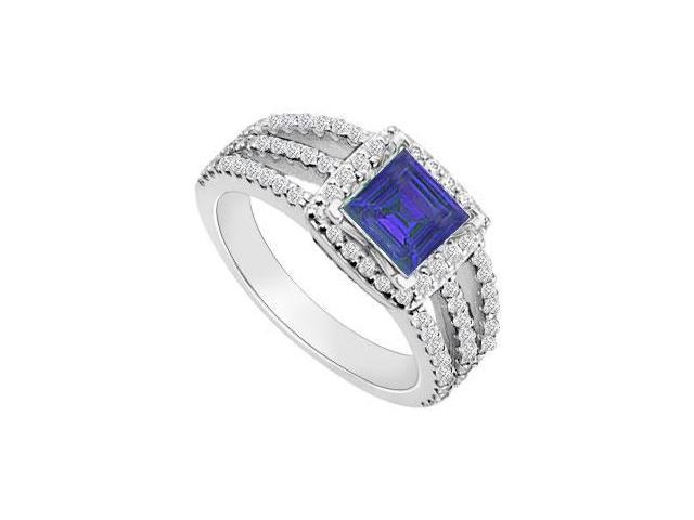 14K White Gold Princess Cut Sapphire  Diamond Engagement Ring 1.25 CT TGW