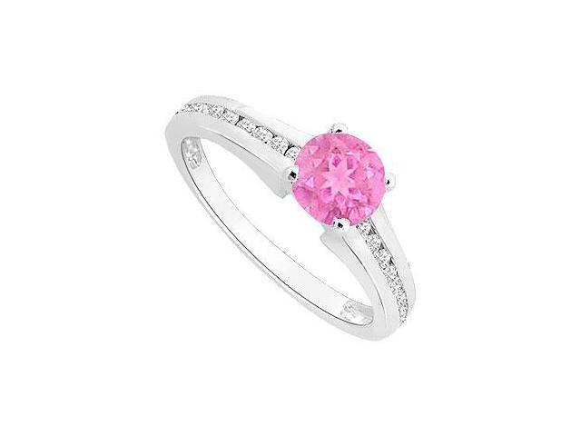 September Birthstone Created Pink Sapphire and CZ Engagement Ring in 14K White Gold 0.50 ct.tgw