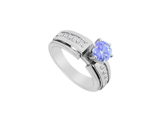 0.50 Carat Tanzanite and CZ Princess Cut Engagement Ring in 14K White Gold 1.25 Carat TGW