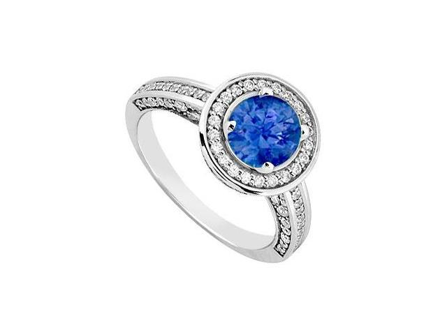 September Birthstone Created Sapphire  CZ Halo Engagement Rings 14kt White Gold 1.30ct.tgw