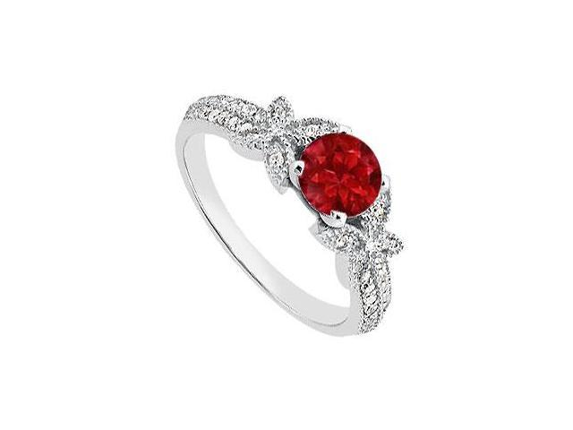 Diamond and Natural Ruby Engagement Ring in 14K White Gold Total Gem Weight of 0.95 Carat