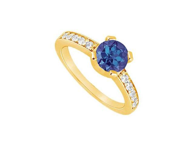 Sapphire and Diamond Engagement Ring  14K Yellow Gold - 0.66 CT TGW