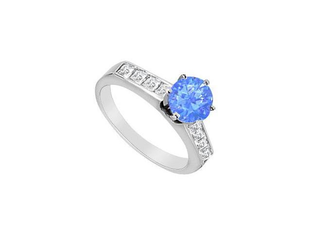 14K White Gold  Diffuse Sapphire and CZ Princess Cut Engagement Ring with 1.10 Carat TGW