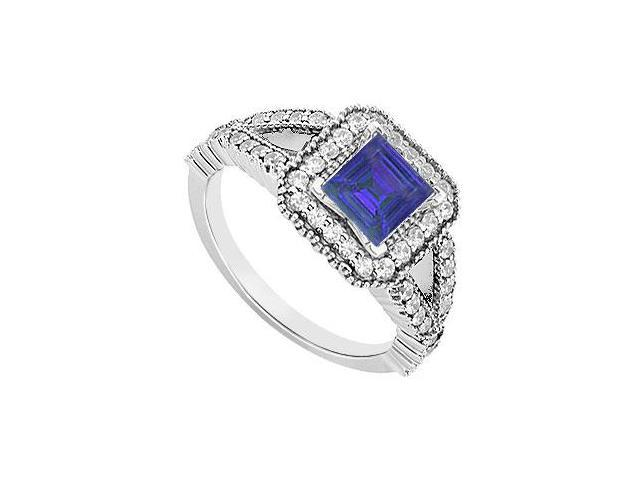 14K White Gold Princess Cut Sapphire  Diamond Engagement Ring 1.50 CT TGW