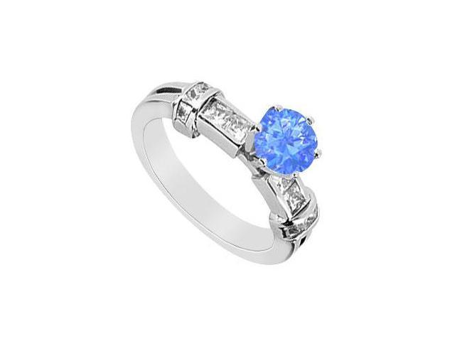 Brilliant Cut Diffuse Sapphire and CZ Princess Cut Engagement Ring 1.00 Carat TGW in 14K White G