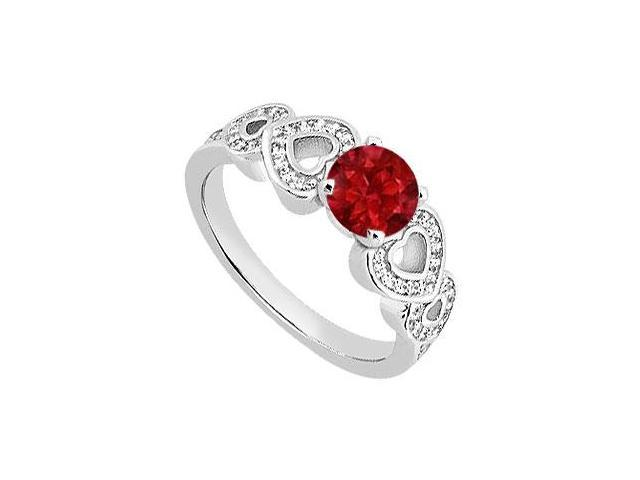 Natural Ruby and Diamond Heart Engagement Ring in 14K White Gold TGW of  0.90 Carat