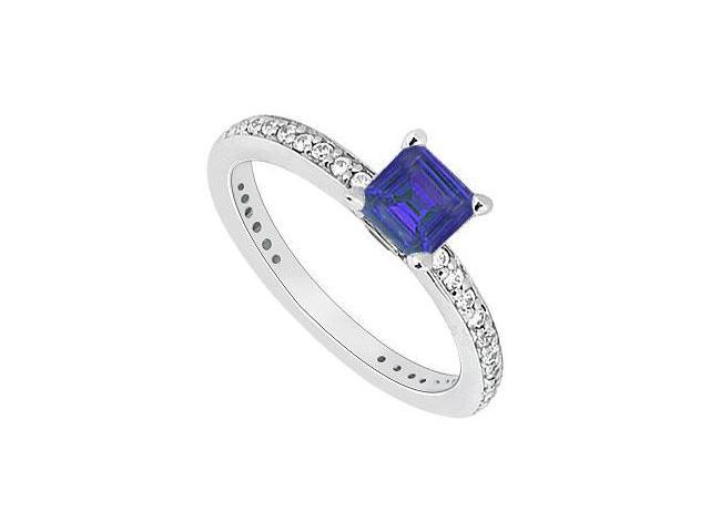 Created Sapphire and Cubic Zirconia Engagement Ring in 14K White Gold 0.60.ct.tgw