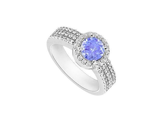 Tanzanite and Diamond Halo Engagement Ring  14K White Gold - 1.60 CT TGW