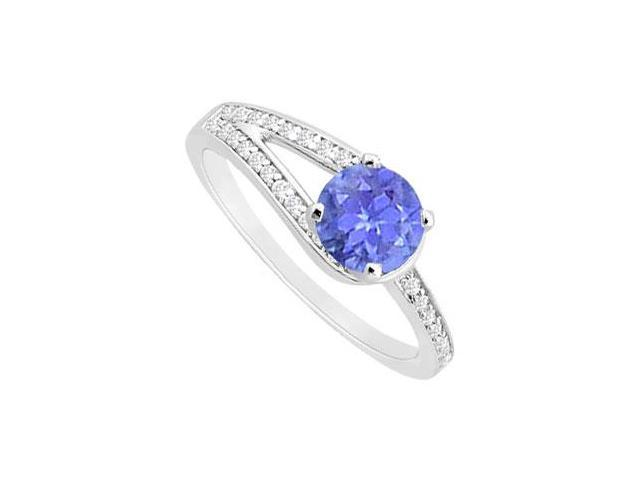 Created Tanzanite and Cubic Zirconia Motif Engagement Ring in 14K White Gold 0.75 ct.tgw