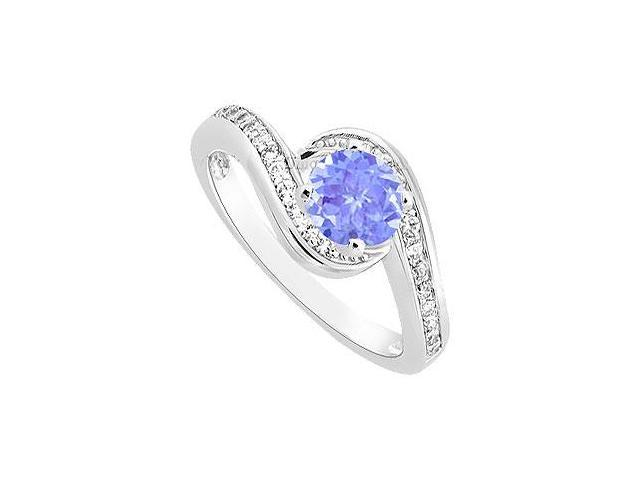 December Birthstone Created Tanzanite  CZ Engagement Ring in 14K White Gold 0.75.ct.tgw