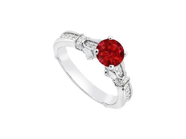 Natural Ruby and Diamond Engagement Rings in White Gold 14K Total Gem Weight of 0.85 Carat