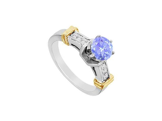 Round Tanzanite and Princess Cut Cubic Zirconia Engagement Ring in 14K White Gold 1.40 Carat TGW