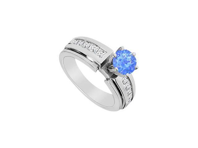 Diffuse Sapphire Half Carat Engagement Ring with CZ channel Set in 14K White Gold 1.25 Carat TGW