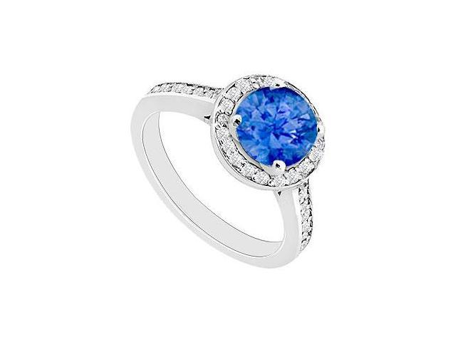 September Birthstone Created Sapphire and CZ Halo Engagement Rings 14kt White Gold 0.80.ct.tgw
