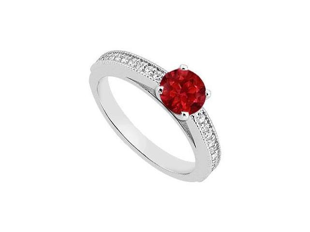 Natural Ruby and Diamond Engagement Rings in White Gold 14K Total Gem Weight of 0.95 Carat