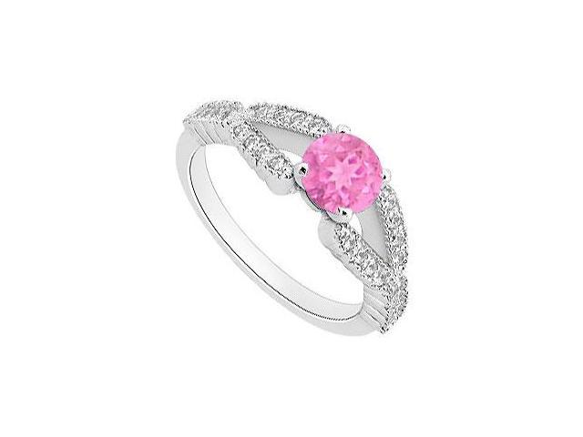 Pink Sapphire Engagement Ring with Diamond 1 Carat Total Gem Weight in White Gold 14K