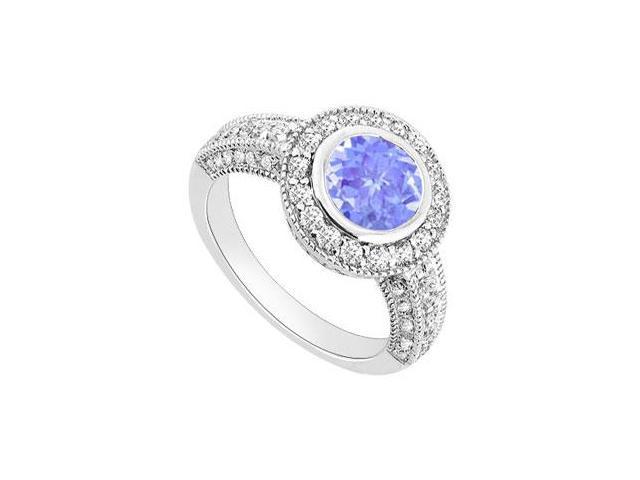 Tanzanite and Diamond Halo Engagement Ring  14K White Gold - 1.75 CT TGW