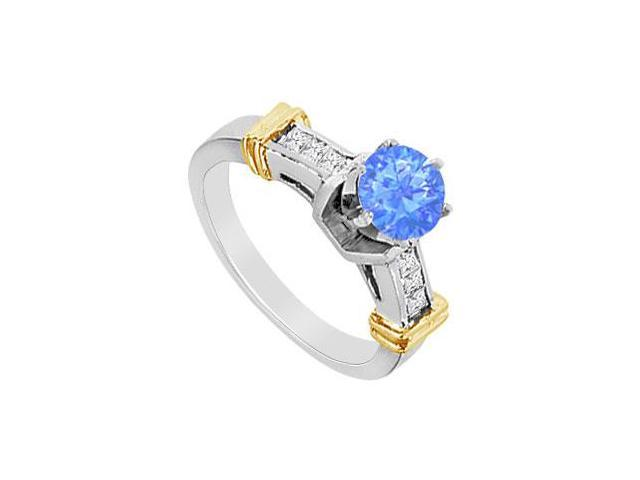 Engagement Ring Diffuse Sapphire with Cubic Zirconia Princess Cut in 14K White Gold 1.00 Carat T