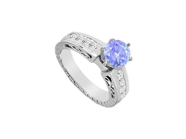 Tanzanite Engagement Ring with Cubic Zirconia TGW 1.40 Carat in 14K White Gold