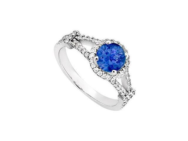 Created Sapphire and CZ Split Shank Halo Engagement Rings 14kt White Gold 1.ct.tgw