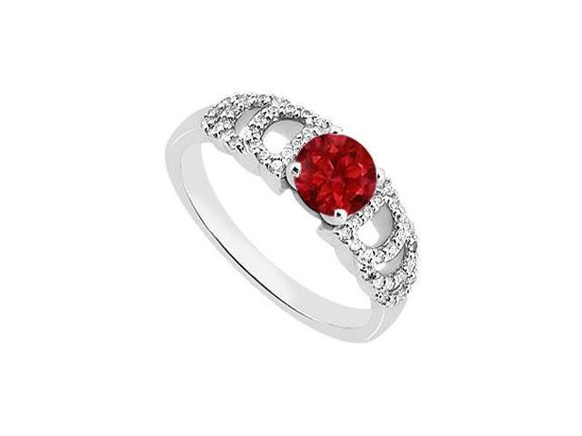 14K White Gold 1 Carat Diamond and Red Natural Ruby Engagement Ring