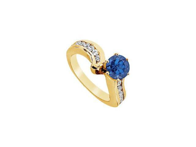 Sapphire and Diamond Engagement Ring  14K Yellow Gold - 1.50 CT TGW