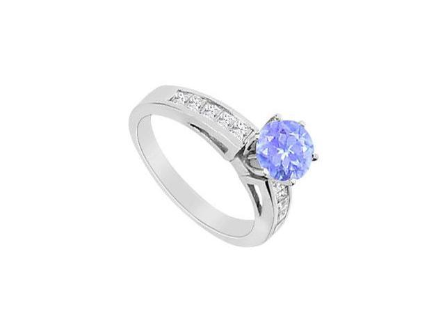Tanzanite and Cubic Zirconia Channel Set Engagement Ring 1.00 Carat TGW in 14K White Gold
