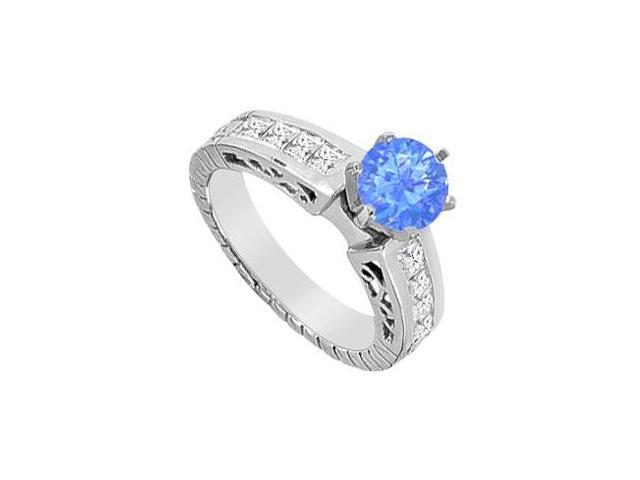 Diffuse Sapphire and Cubic Zirconia Princess Cut Engagement Ring in 14K White Gold 1.40 CT TGW