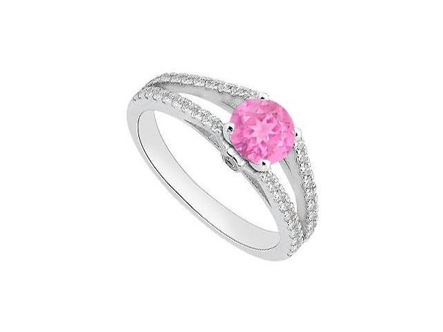 Wedding Engagement Ring of Pink Sapphire and Diamond in 14K White Gold 1.05 Carat TGW