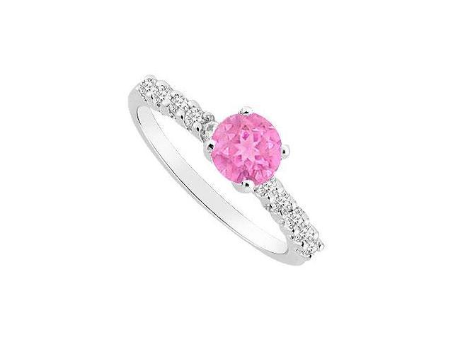 September Birthstone Engagement Rings with Created Pink Sapphire  CZ 14K White Gold 0.50.ct.tgw