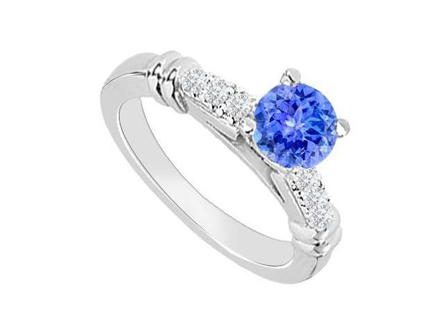 14K White Gold  Tanzanite and Diamond Engagement Ring 0.60 CT TGW