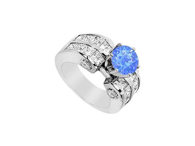 14K White Gold Diffuse Sapphire Engagement Ring with Princess Cut Cubic Zirconia 3.65 Carat TGW