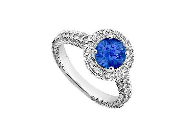 Created Sapphire and Cubic Zirconia Halo Engagement Rings in 14K White Gold 0.85.ct.tgw