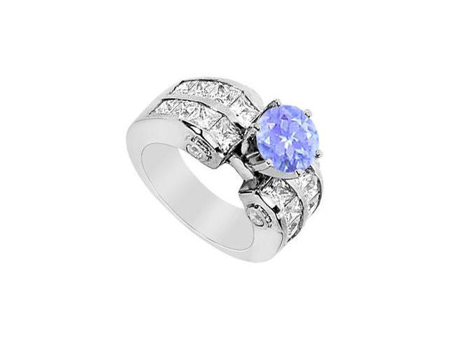 Prong Set Tanzanite and CZ Princess Cut Engagement Ring in 14K White Gold 3.65 Carat TGW