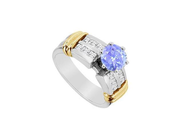 Princess Cut Cubic Zirconia and Tanzanite Engagement Ring in 14K Two Tone Gold 1.10 Carat TGW