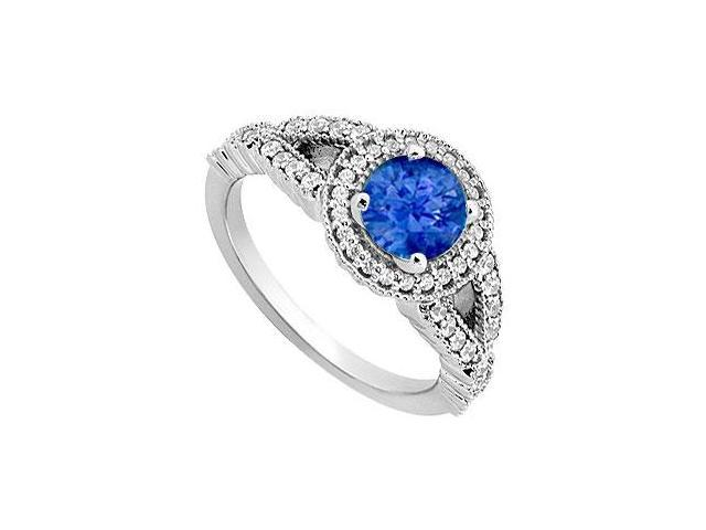 September Birthstone Created Sapphire  CZ Halo Engagement Rings 14K White Gold 0.85.ct.tgw