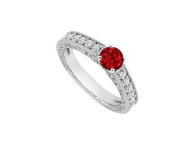 14K White Gold Diamond and Red Natural Ruby Engagement Ring of 1.05 Carat Total Gem Weight