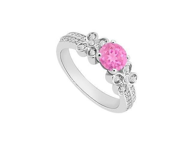 Pink Sapphire Engagement Ring with Diamond 1 Carat Total Gem Weight in 14K white Gold
