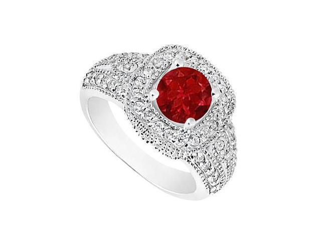 Natural Ruby and Diamond Milgrain Engagement Ring in 14K White Gold 1.15 Carat TGW