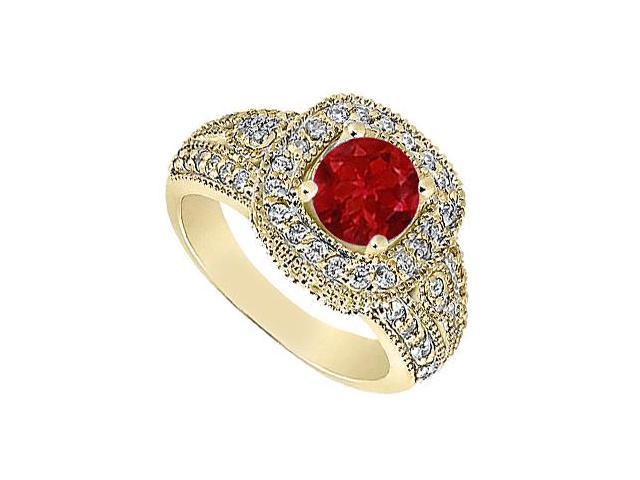 Natural Ruby and Diamond Milgrain Engagement Ring in 14K Yellow Gold 1.15 Carat TGW